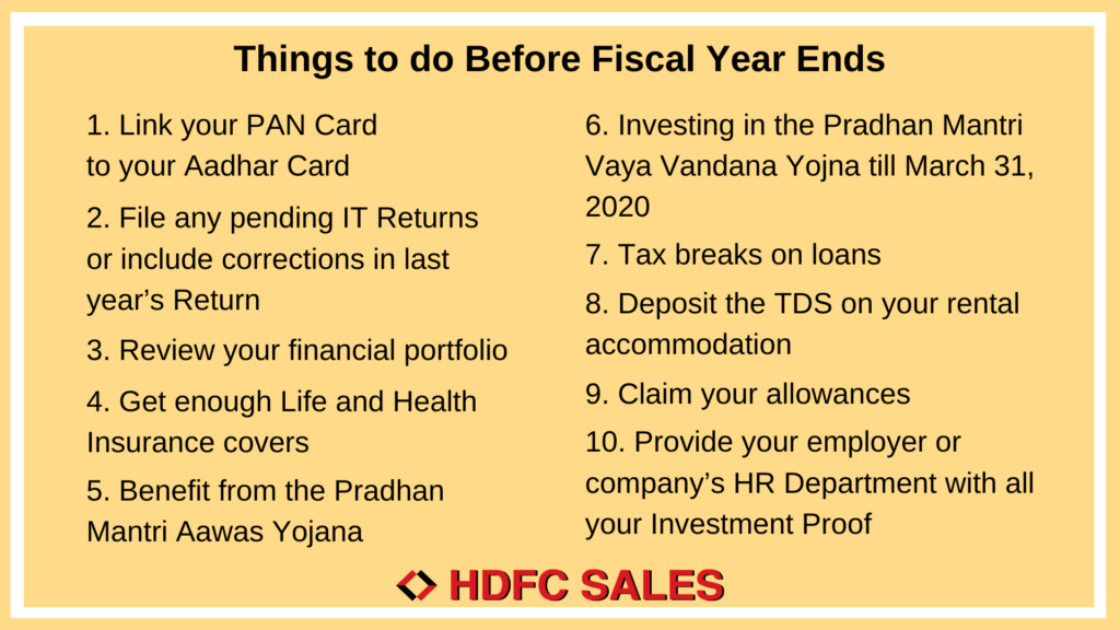 Things to do Before Fiscal Year Ends | HDFC Sales Blog